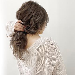 透明感カラー ナチュラル ハイライト ミディアム ヘアスタイルや髪型の写真・画像