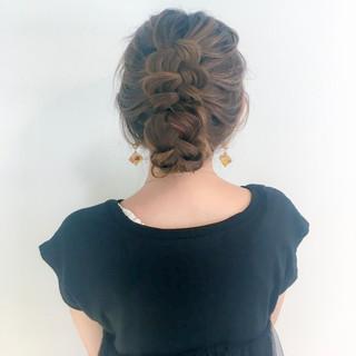 デート 上品 編み込み セミロング ヘアスタイルや髪型の写真・画像 ヘアスタイルや髪型の写真・画像