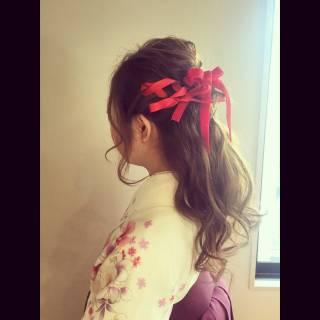 ストリート 着物 編み込み ヘアアレンジ ヘアスタイルや髪型の写真・画像