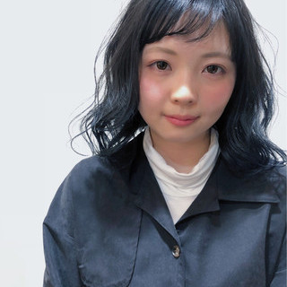 バレイヤージュ ブルー グラデーションカラー ネイビー ヘアスタイルや髪型の写真・画像