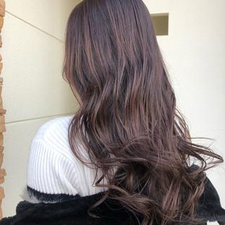 ピンクバイオレット ロング フェミニン ピンクラベンダー ヘアスタイルや髪型の写真・画像