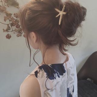 夏 簡単ヘアアレンジ ヘアアレンジ セミロング ヘアスタイルや髪型の写真・画像 ヘアスタイルや髪型の写真・画像