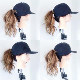 キャップ ポニーテール セミロング ヘアアレンジ ヘアスタイルや髪型の写真・画像
