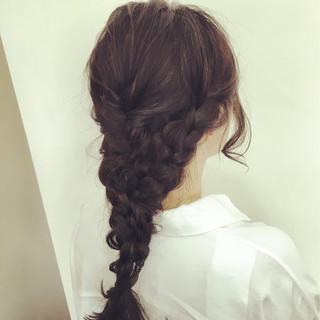 暗髪 グラデーションカラー アッシュ セミロング ヘアスタイルや髪型の写真・画像