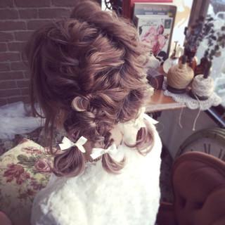 ヘアアレンジ 簡単ヘアアレンジ くるりんぱ 結婚式 ヘアスタイルや髪型の写真・画像