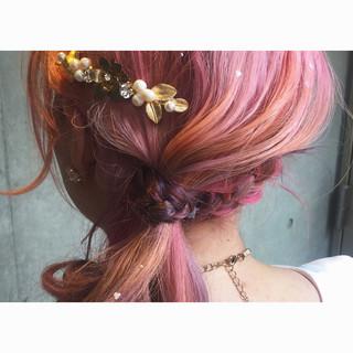ハイライト ヘアアレンジ グラデーションカラー ハーフアップ ヘアスタイルや髪型の写真・画像