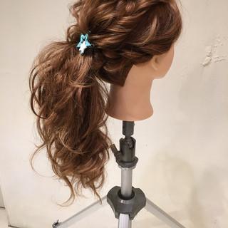ロング 大人かわいい 結婚式 ポニーテール ヘアスタイルや髪型の写真・画像