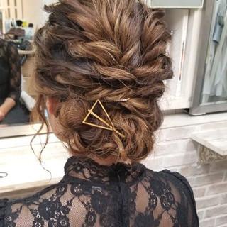 デート 結婚式 パーティ セミロング ヘアスタイルや髪型の写真・画像