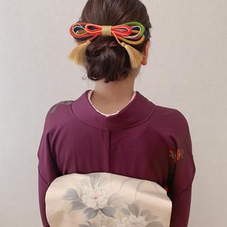 着物 ヘアアレンジ 訪問着 エレガント ヘアスタイルや髪型の写真・画像