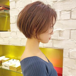 ショートボブ ショート ショートヘア 切りっぱなしボブ ヘアスタイルや髪型の写真・画像