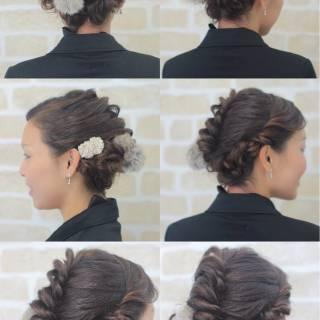 コンサバ ゆるふわ ヘアアレンジ 編み込み ヘアスタイルや髪型の写真・画像