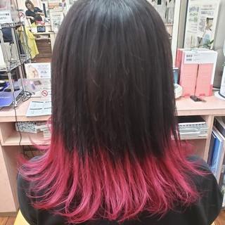 ガーリー セミロング ハイトーンカラー 裾カラー ヘアスタイルや髪型の写真・画像