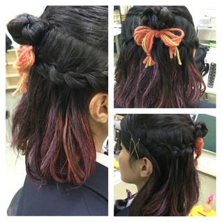 ヘアアレンジ ミディアム 外国人風 ハーフアップ ヘアスタイルや髪型の写真・画像