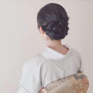 訪問着 黒髪 結婚式 ヘアアレンジ ヘアスタイルや髪型の写真・画像