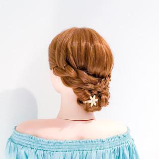 三つ編み 簡単ヘアアレンジ フェミニン ヘアアレンジ ヘアスタイルや髪型の写真・画像