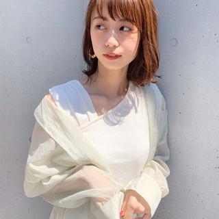 コンサバ アンニュイほつれヘア デジタルパーマ ミディアム ヘアスタイルや髪型の写真・画像