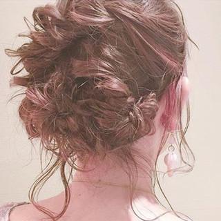 ミディアム 編み込み 結婚式 ヘアアレンジ ヘアスタイルや髪型の写真・画像