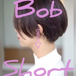 ナチュラル ショート ベリーショート 耳かけ ヘアスタイルや髪型の写真・画像