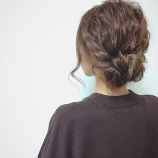 くるりんぱ 編み込み ショート セミロング ヘアスタイルや髪型の写真・画像