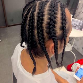 ミディアム ヘアアレンジ 黒髪 編み込み ヘアスタイルや髪型の写真・画像