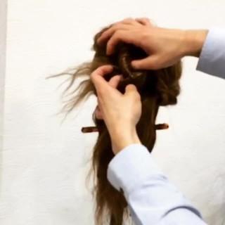 くるりんぱ セミロング ヘアアクセ ヘアアレンジ ヘアスタイルや髪型の写真・画像