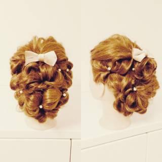 ヘアアレンジ くるりんぱ アップスタイル 結婚式 ヘアスタイルや髪型の写真・画像 ヘアスタイルや髪型の写真・画像