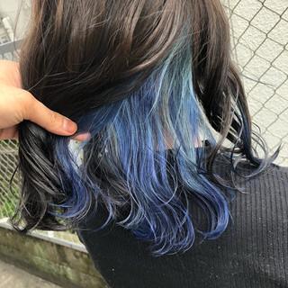 グラデーションカラー ミディアム インナーカラー ストリート ヘアスタイルや髪型の写真・画像
