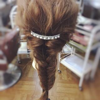 パールアクセ ヘアアレンジ ヘアピン ロング ヘアスタイルや髪型の写真・画像