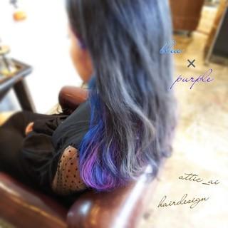 モード ロング パープル ブルー ヘアスタイルや髪型の写真・画像 ヘアスタイルや髪型の写真・画像