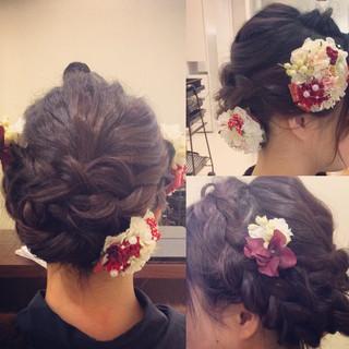 セミロング ヘアアレンジ 結婚式 フェミニン ヘアスタイルや髪型の写真・画像