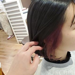 パープル ダークカラー インナーカラー ボブ ヘアスタイルや髪型の写真・画像