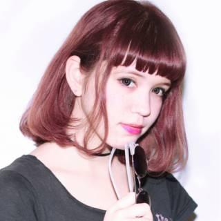 ピンク ガーリー ボブ ストレート ヘアスタイルや髪型の写真・画像
