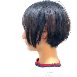 ナチュラル 黒髪 ショートボブ ハンサムショート ヘアスタイルや髪型の写真・画像