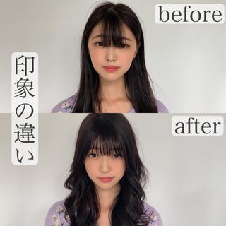 セミロング ナチュラル 小顔 前髪 ヘアスタイルや髪型の写真・画像