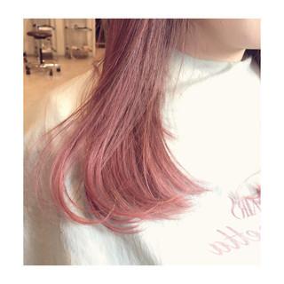 ピンク ヘアアレンジ ロブ セミロング ヘアスタイルや髪型の写真・画像