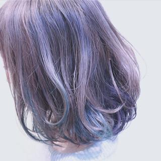 ハイライト ガーリー パープル ボブ ヘアスタイルや髪型の写真・画像