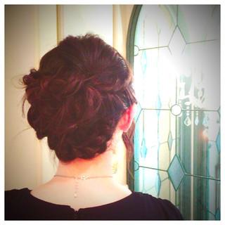 結婚式 くるりんぱ ロング 編み込み ヘアスタイルや髪型の写真・画像