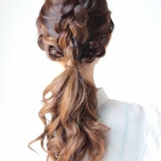 ヘアアレンジ ストリート ロング 編み込み ヘアスタイルや髪型の写真・画像 ヘアスタイルや髪型の写真・画像