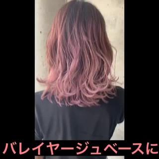 透明感カラー ピンク バレイヤージュ パステルカラー ヘアスタイルや髪型の写真・画像