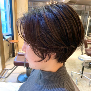ワンカールパーマ ナチュラル 簡単スタイリング ショートボブ ヘアスタイルや髪型の写真・画像