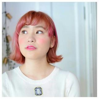 ピンク カラーバター ガーリー ブリーチ ヘアスタイルや髪型の写真・画像
