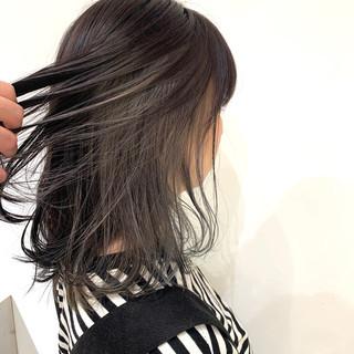 ハイトーン グレージュ 大人ミディアム ミディアム ヘアスタイルや髪型の写真・画像