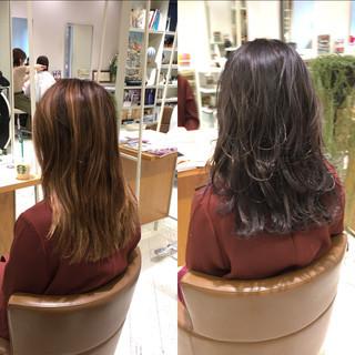 女子力 パープル ブリーチ バイオレットアッシュ ヘアスタイルや髪型の写真・画像