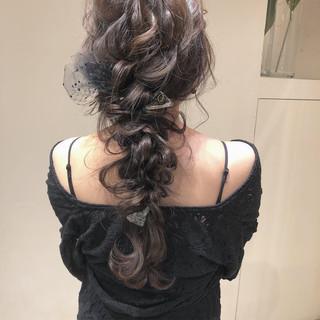 編みおろし ロング 結婚式 編みおろしヘア ヘアスタイルや髪型の写真・画像
