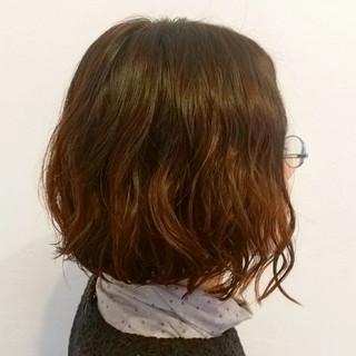 バレイヤージュ ニュアンス 前下がり ボブ ヘアスタイルや髪型の写真・画像