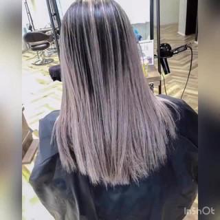 ナチュラル ホワイトハイライト グラデーションカラー ハイライト ヘアスタイルや髪型の写真・画像