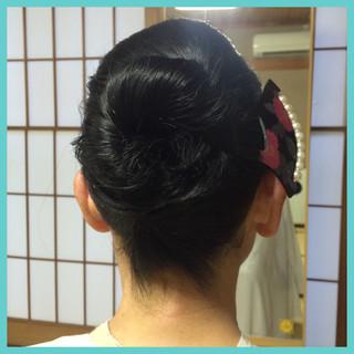 黒髪 着物 まとめ髪 セミロング ヘアスタイルや髪型の写真・画像 ヘアスタイルや髪型の写真・画像