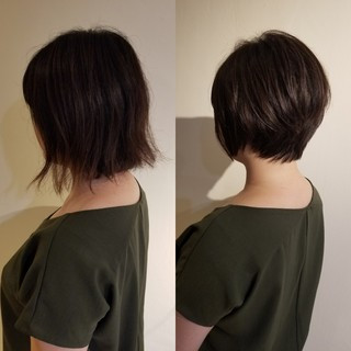 イメチェン 小顔ショート ハンサムショート ナチュラル ヘアスタイルや髪型の写真・画像