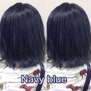 ヘアカラー ボブ ブルー ストリート ヘアスタイルや髪型の写真・画像