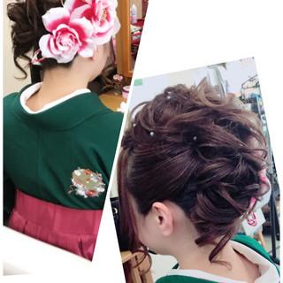 モード セミロング 着物 アップスタイル ヘアスタイルや髪型の写真・画像